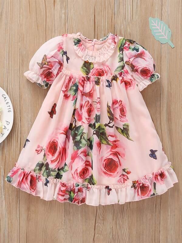 Toddler Girls Floral Print Frill Dress, null