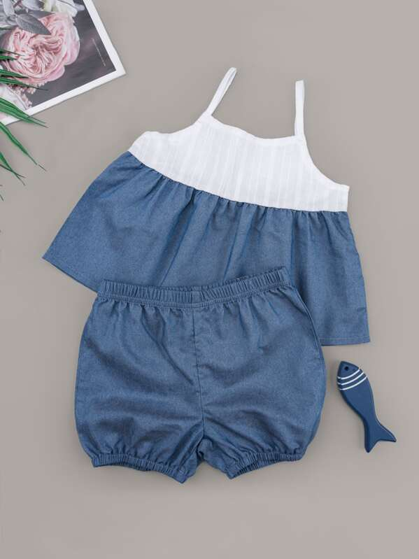Baby Girl Contrast Panel Cami Top & Shorts, null