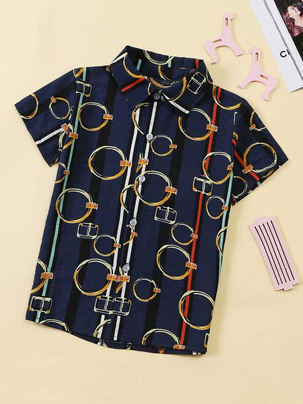 Boys Chain Print Shirt, null