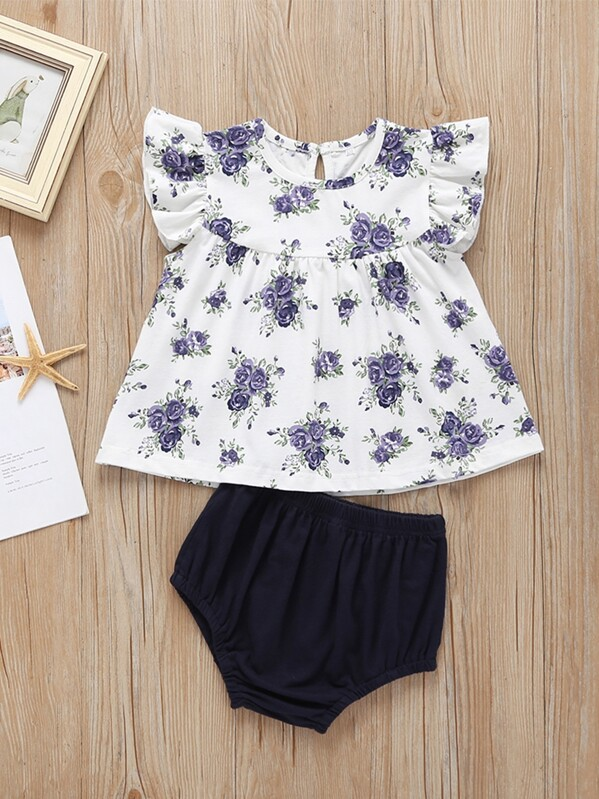 Toddler Girls Floral Print Top & Shorts, null