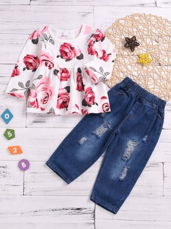Toddler Girls Floral Print Top & Ripped Jeans, null