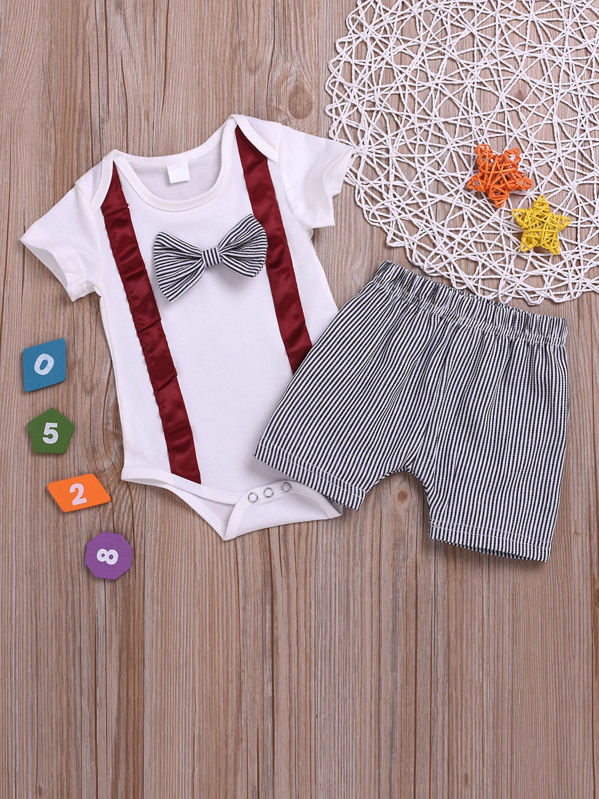Toddler Boys Bow Front Jumpsuit & Stripe Shorts, null