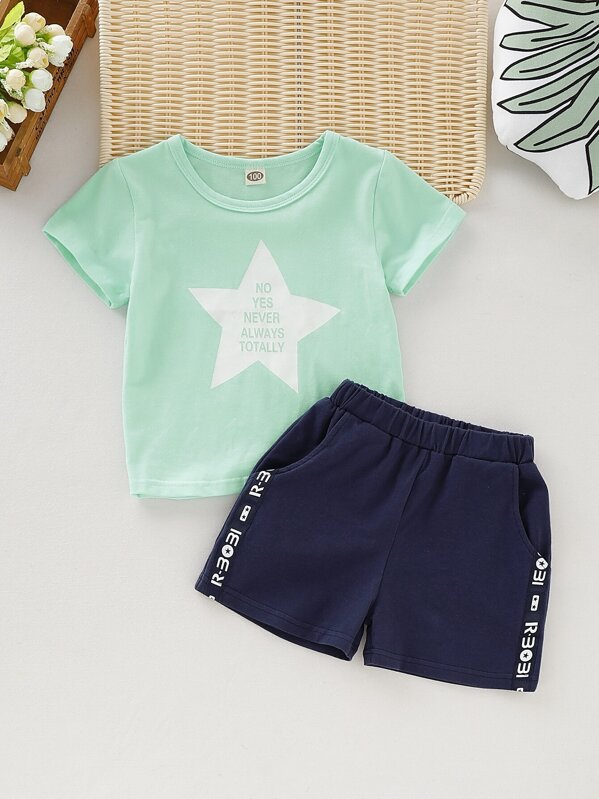 Toddler Boys Letter Print Tee & Shorts, null