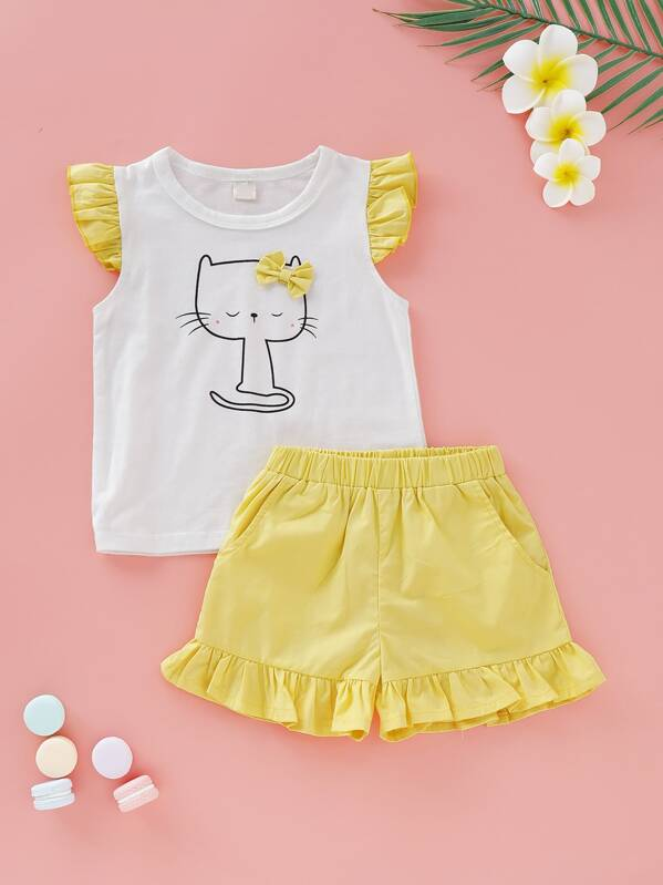 Toddler Girls Cat Print Top & Ruffle Hem Shorts, null