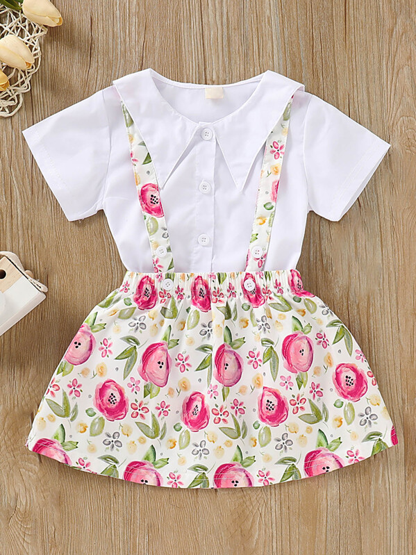 Toddler Girls Solid Blouse & Floral Print Skirt, null