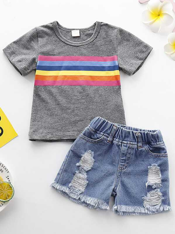 Toddler Girls Rainbow Stripe Tee & Ripped Denim Shorts, null