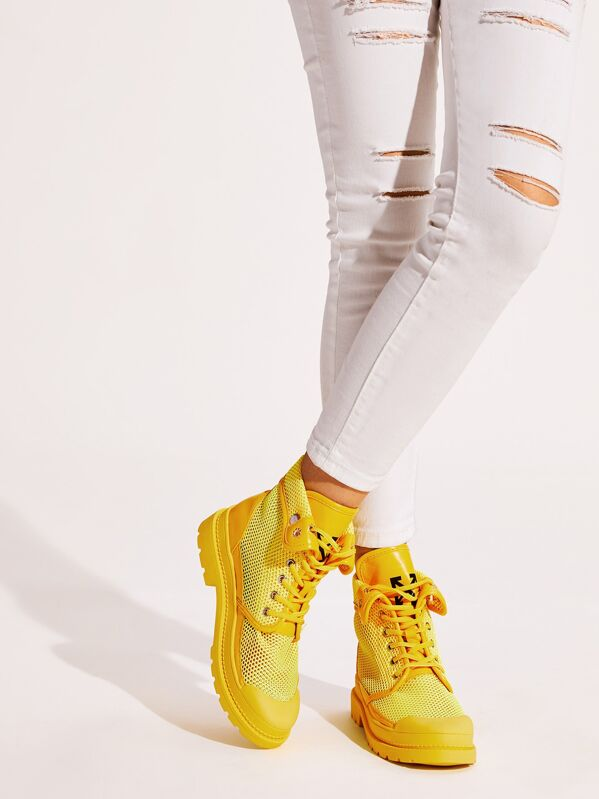 Lace-up Front High Top Mesh Sneakers, Yellow