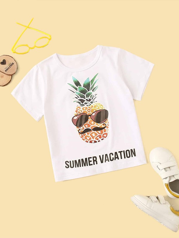 Toddler Boys Pineapple & Letter Print Tee, null