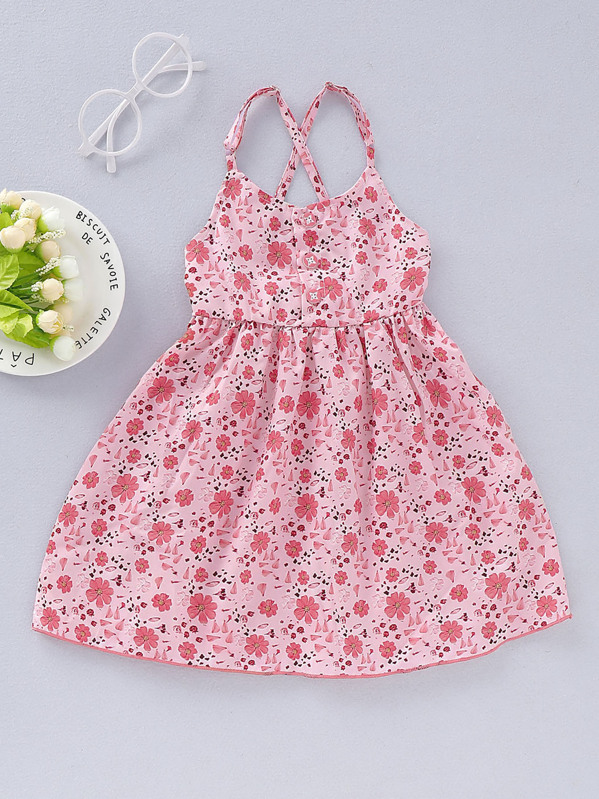 Toddler Girls Ditsy Floral Criss Cross Cami Dress, null