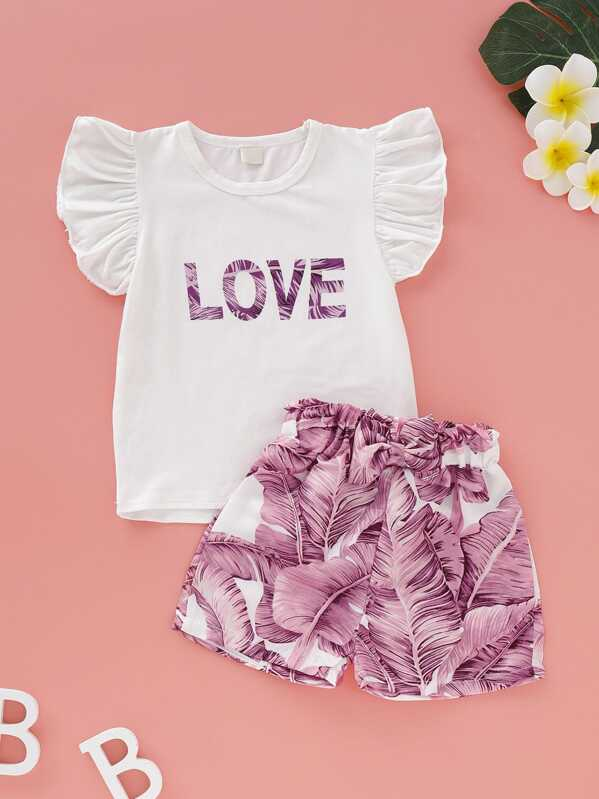 Toddler Girls Letter Print Ruffle Cuff Tee & Tropical Print Shorts, null