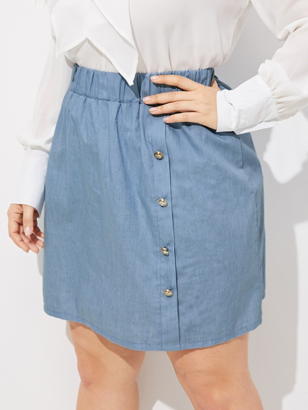 Plus Elastic Waist Button Front Denim Skirt, Franziska