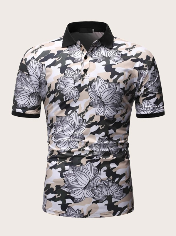 Men Contrast Binding Floral Print Polo Shirt, null