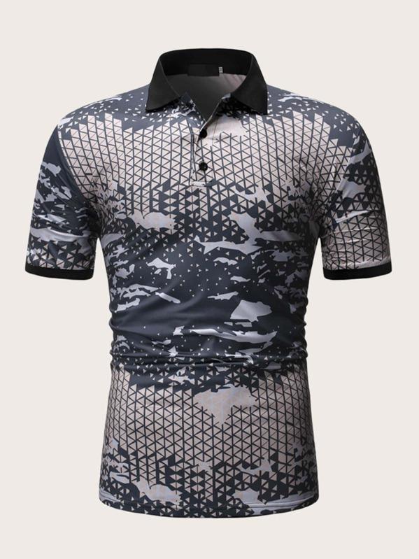 Men Contrast Binding Camo Print Polo Shirt, null