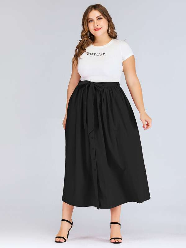 Plus Tie Front Button Through Skirt, Franziska