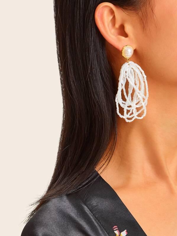 Layered Bead Decor Hoop Drop Earrings 1pair, null