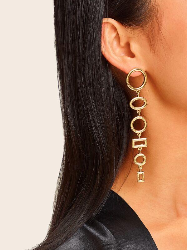 Layered Hoop & Rectangle Drop Earrings 1pair, null
