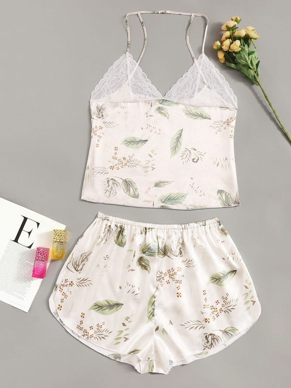 Plus Leaf Print Contrast Lace Cami Top & Shorts, null