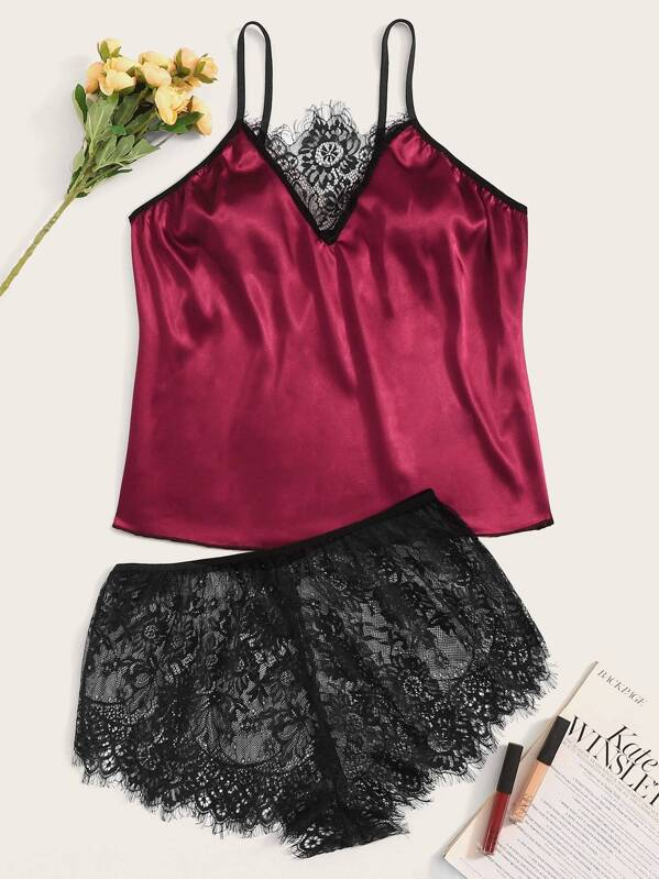 Plus Floral Lace Satin Cami Top & Shorts, null