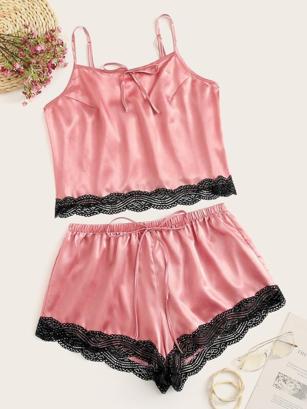 Plus Lace Trim Satin Cami Top & Shorts, null