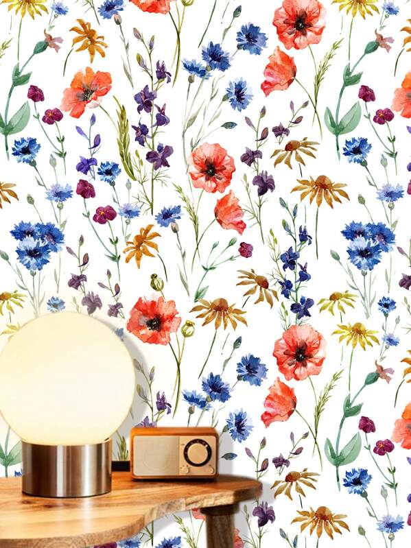 Flower Overlay Print Wall Paper, null