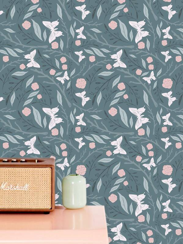 Butterfly & Floral Print Wall Paper, null