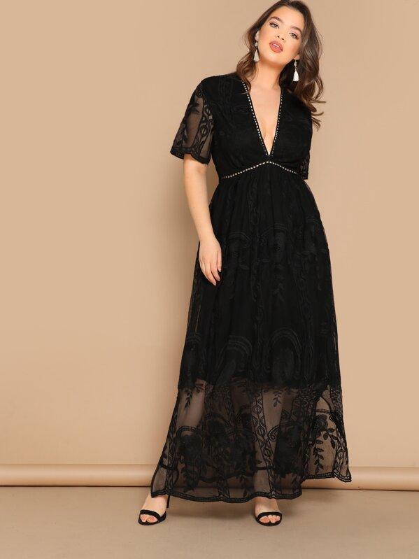 Plus Eyelet Lace Insert Plunge Neck Mesh Overlay Dress, Faith Bowman