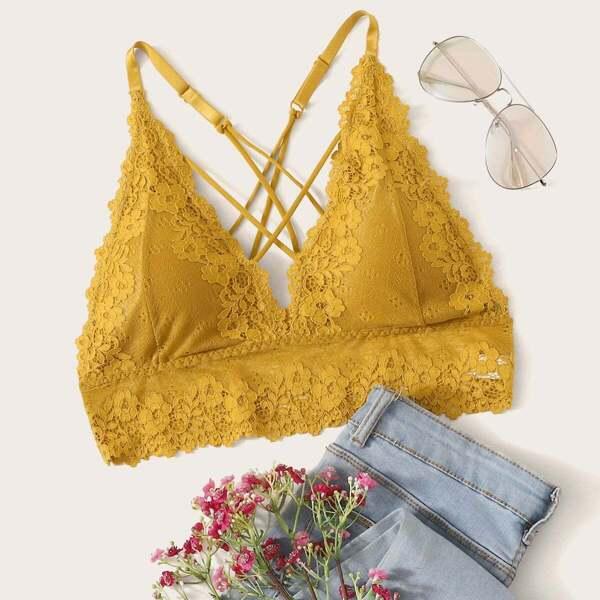 Floral Lace Crisscross Back Longline Bralette, Yellow