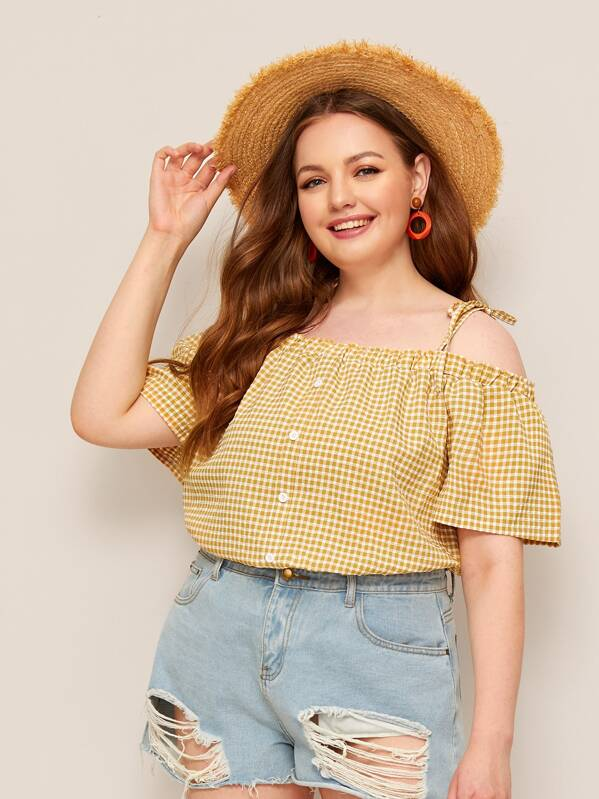 Plus Cold Shoulder Gingham Knot Blouse, Olga B