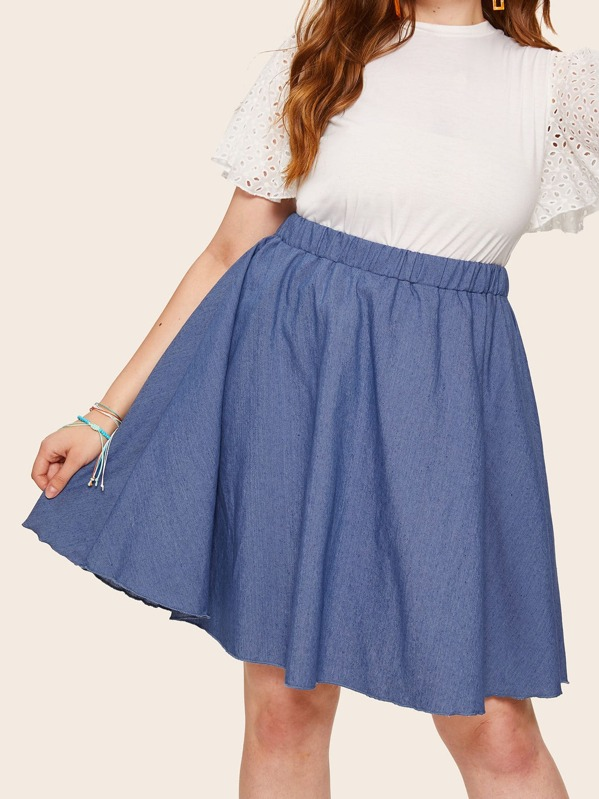 Plus Elastic Waist Denim Skirt, Olga B