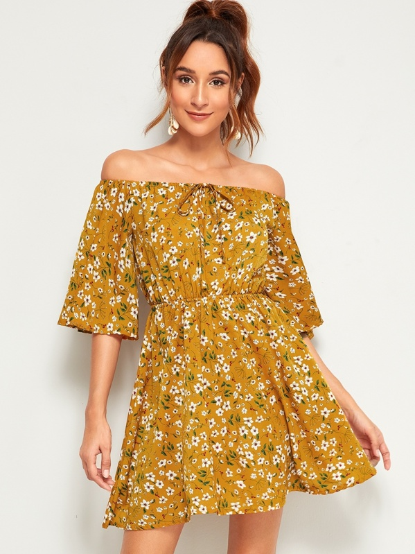 Ditsy Floral Off The Shoulder Knot Dress, Sava