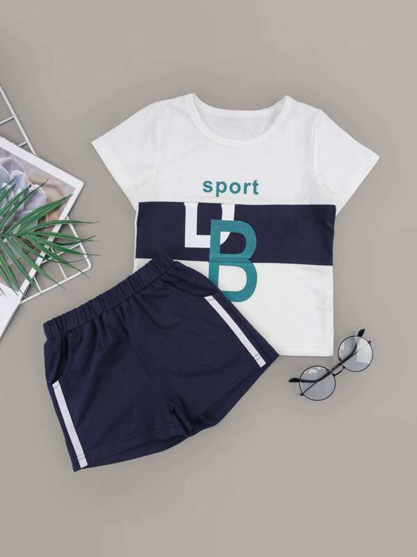 Toddler Boys Letter Print Tee With Side Stripe Track Shorts, null