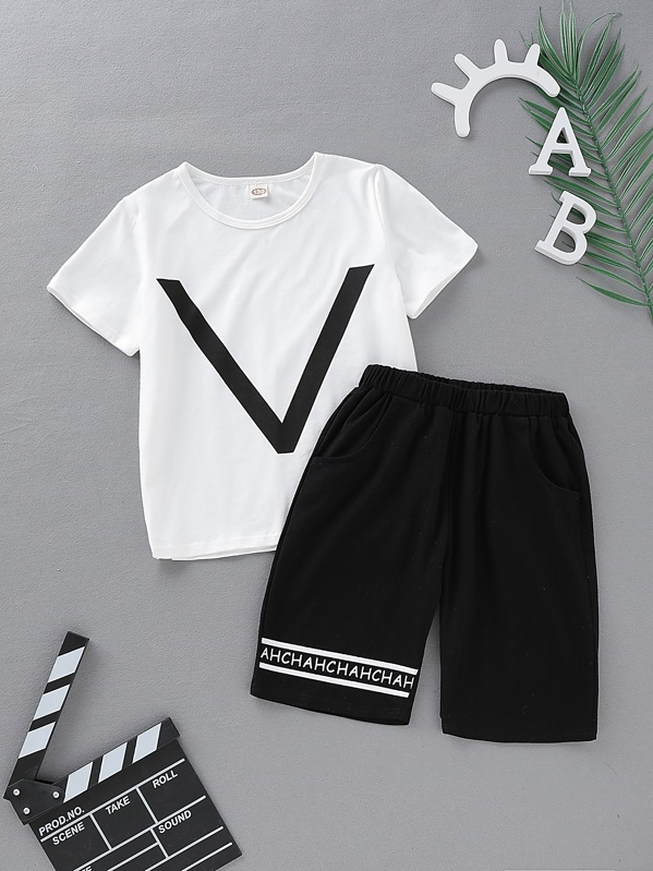 Boys Letter Print Tee With Bermuda Shorts, null