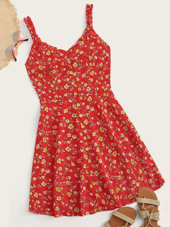 Frill Trim Single Breasted Ditsy Floral Sundress, null