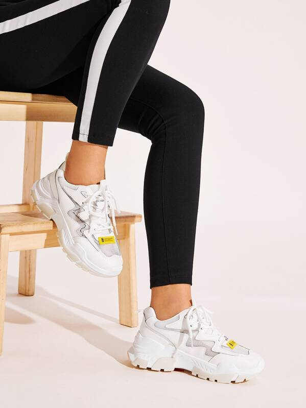 Lace-up Front Chunky Sole Trainers, White