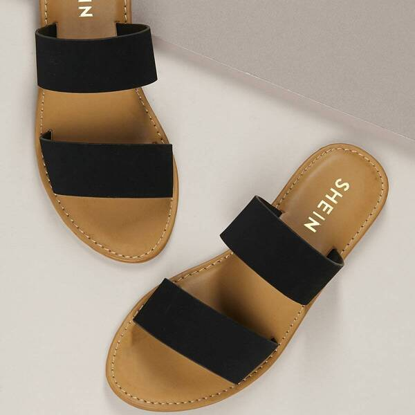 Slip On Open Toe Flat Slide Sandals