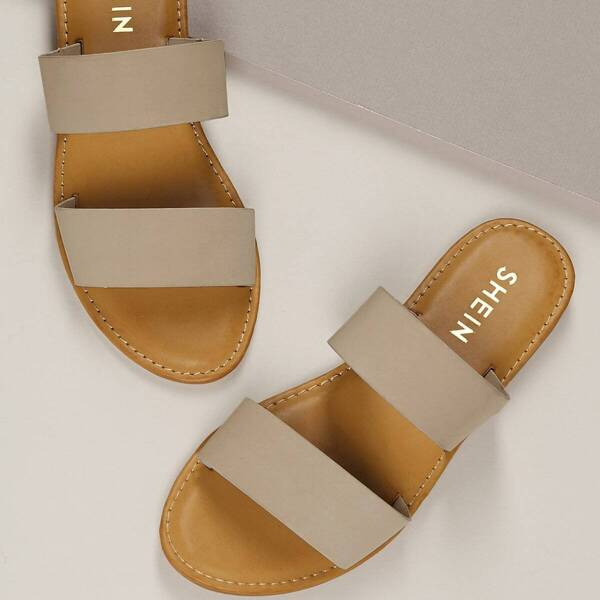 Strappy Double Band Open Toe Slide Sandals