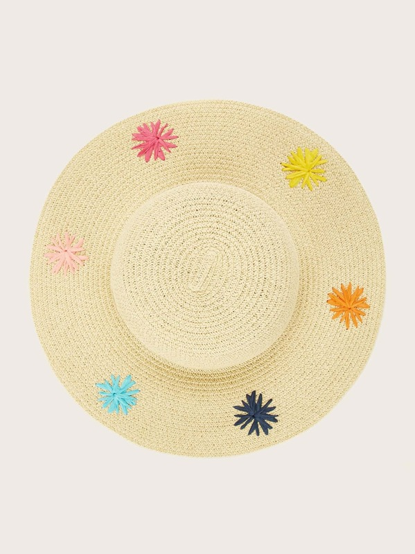 Girls Floral Embroidery Floppy Hat, null