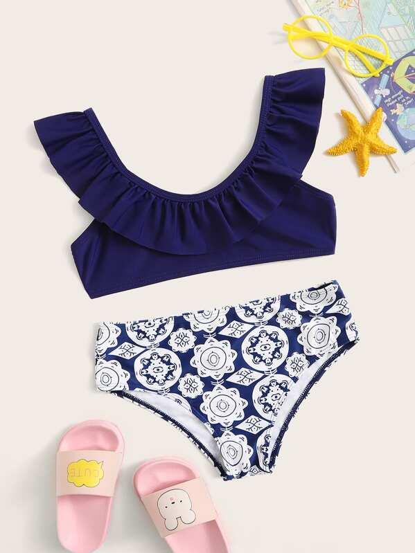 Girls Ruffle Neck Top With Mandala Print Panty Bikini, null