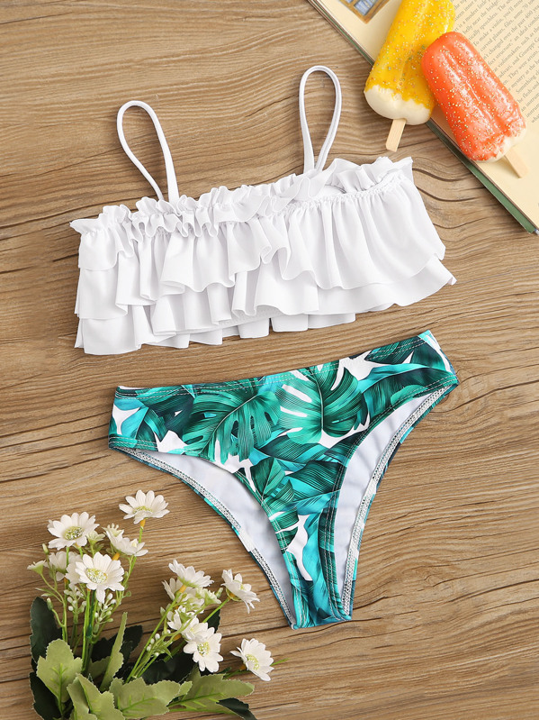 Girls Tiered Layer Top With Tropical Panty Bikini, null