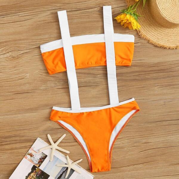 Colorblock Bandeau Top With Suspender Two Piece Swim