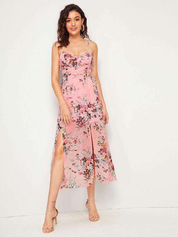 Floral Print Split Thigh Lace Up Slip Dress, Roberta B