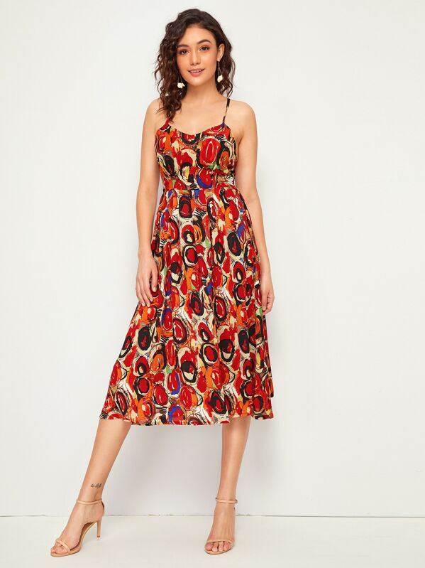 Abstract Print Lace Up Back Slip Dress, Roberta B