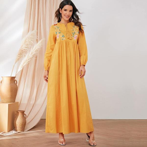 Floral Embroidered Tie Neck Maxi Dress, Yellow