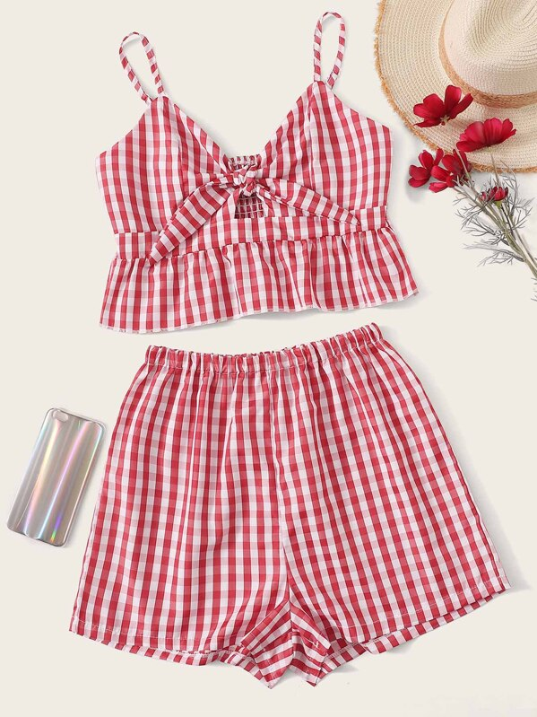 Gingham Tie Front Shirred Cami Top With Shorts, null