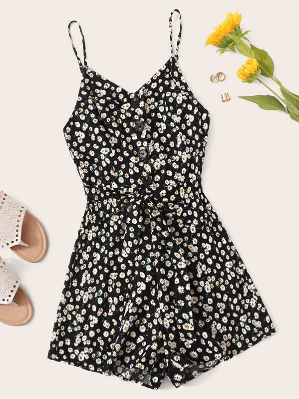 Daisy Floral Button Front Belted Slip Romper, null