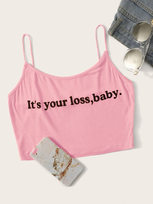 Slogan Graphic Cami Top, Pink