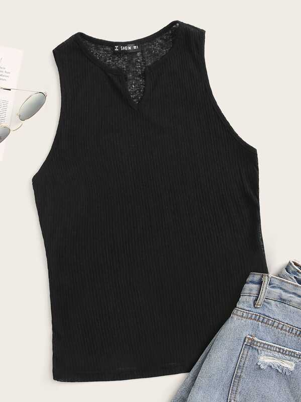 Notch Neck Rib-knit Tank Top, Black