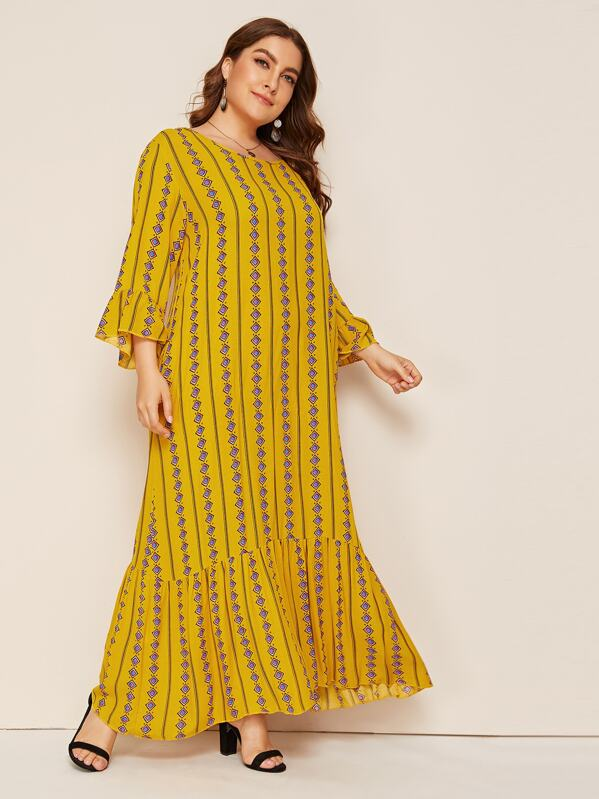 Plus Tribal Print Ruffle Hem Maxi Dress, Franziska