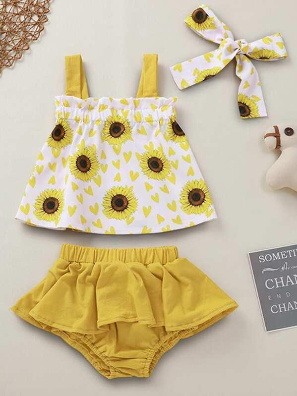 Baby Girl Sunflower Print Cami Top & Shorts & Headband, null