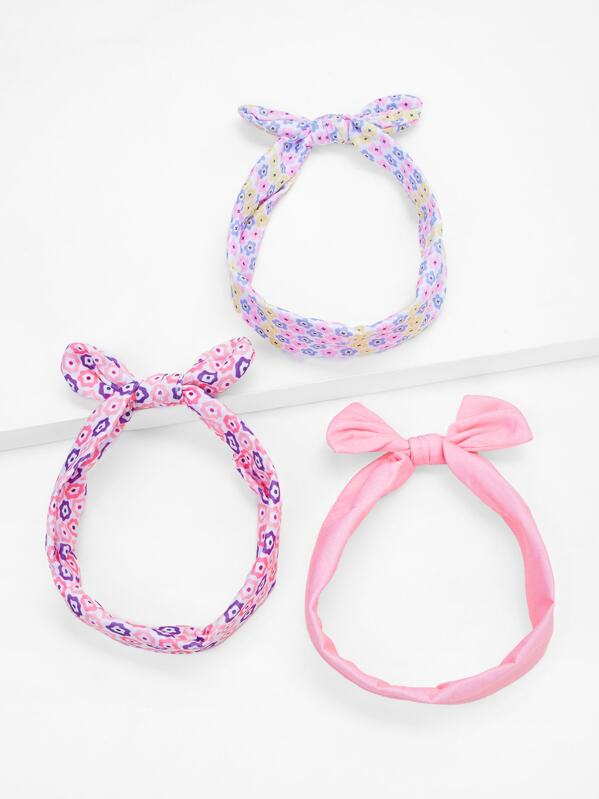 Toddler Girls Floral Bow Knot Headband 3pcs, null
